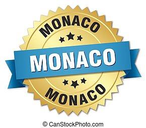 azul, dourado, monaco, emblema, redondo, fita