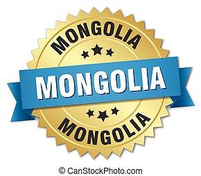 azul, dourado, mongolia, emblema, redondo, fita