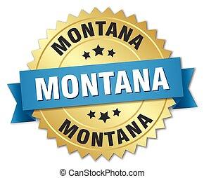 azul, dourado, montana, emblema, redondo, fita