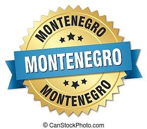 azul, dourado, montenegro, emblema, redondo, fita