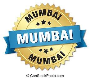 azul, dourado, mumbai, emblema, redondo, fita