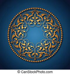 azul, dourado, sobre, otomano, padrões