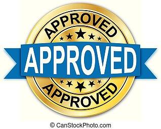azul, dourado, teia, medalha, aprovado, moeda, emblema, redondo