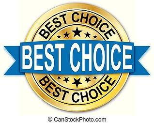 azul, dourado, teia, medalha, escolha, moeda, emblema, redondo, melhor, garantia