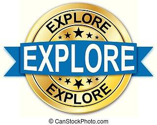 azul, dourado, teia, medalha, explorar, moeda, emblema, redondo