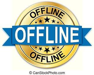 azul, dourado, teia, medalha, offline, moeda, emblema, redondo