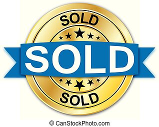 azul, dourado, teia, medalha, vendido, moeda, emblema, redondo