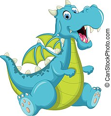 azul, dragón, caricatura, sentado