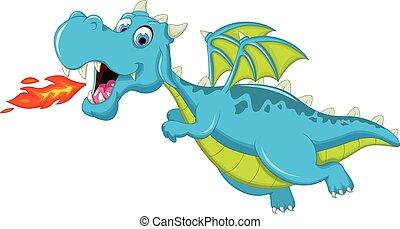 azul, dragón, caricatura, vuelo