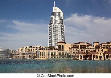 azul, dubai, edificios, cielo, 17, agua, soleado, hotel, -,...