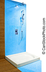 azul, ducha
