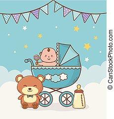 azul, ducha, tarjeta, carrito, bebé