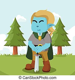 azul, duende, espada, colorido, tenencia