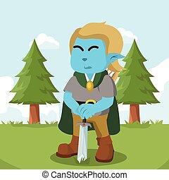azul, duende, segurando, espada, coloridos