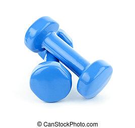 azul, dumbbell, pesas