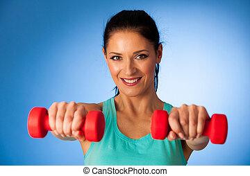 azul, dumbbells, sobre, ginásio, mulher, fundo, condicão física, ativo, malhação