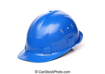 azul, duro, aislado, plano de fondo, sombrero blanco