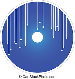 azul, dvd, vector, cd