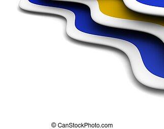 azul, e, laranja, ondas, experiência., 3d, representado,...