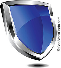 azul, e, prata, escudo