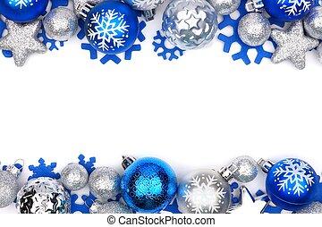 azul, e, prata, ornamento natal, dobro, borda, sobre, branca