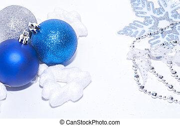 azul, e, prata, xmas, decoração, com, espaço cópia