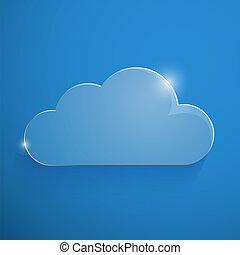 azul, eco, ilustração, vidro, vetorial, lustroso, nuvem, ícone