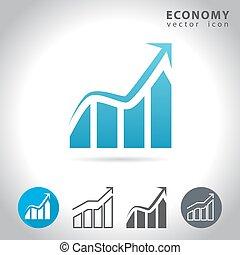 azul, economia, ícone