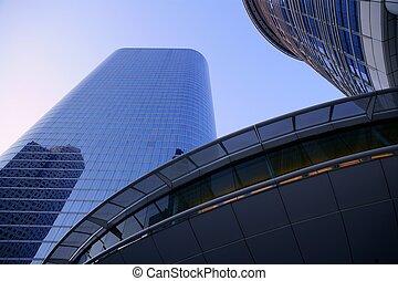 azul, edifícios, vidro, arranha-céu, espelho, fachada