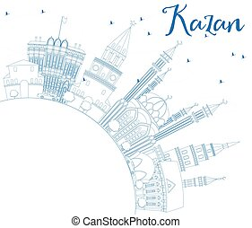azul, edificios, contorno, kazan, space., contorno, copia