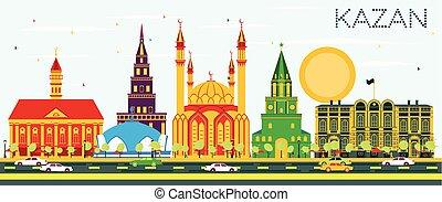 azul, edificios, kazan, sky., color, contorno