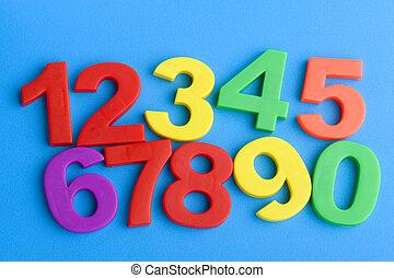 azul, educación, números