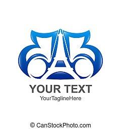 azul, eiffel, colorido, bb, companhia, inicial, negócio, desenho, letra, logotipo, torre, identidade, modelo