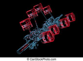 azul, eixo, (3d, transparent), pistões, xray, manivela, vermelho