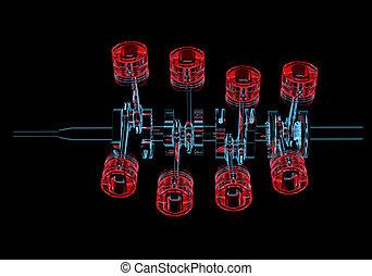 azul, eixo, (3d, transparent), pistões, xray, manivela, ...