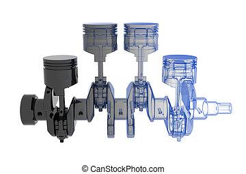 azul, eixo, cilindro, -, isolado, manivela, 4, pretas, ...