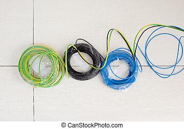 azul, eléctrico, cable, tres, colores, negro, tierra, rollo
