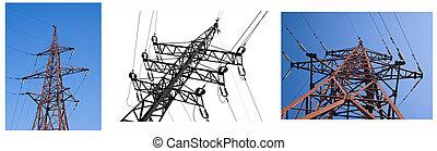 azul, elétrico, vistas, colagem, sobre, céu, linha, branca