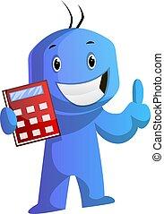 azul, el suyo, calculadora, ilustración, vector, plano de...