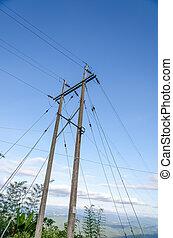 azul, electricidad, cielo, contra, poste