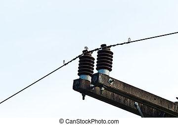 azul, electricidad, cielo, plano de fondo, poste