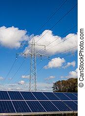 azul, electricidade, sol, céu, contra, pylon