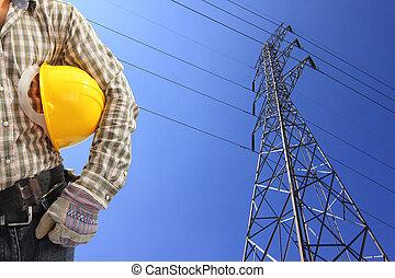 azul, electricista, potencia, cielo, contra, alto voltaje, pilón