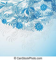 azul, elegante, floral