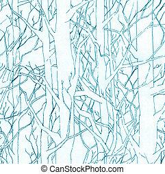 azul, elegante, patrón, seamless, ilustración, mano, forest., dibujado, infinito, sombreado, interminable