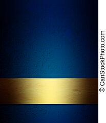 azul, elegante, plano de fondo, oro, navidad