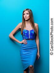 azul, elegante, roupas