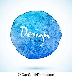 azul, elemento, aquarela, vetorial, desenho, círculo