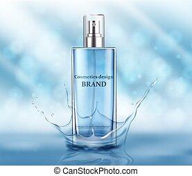 azul, elementos, botella, paquete, luz, ilustración,...