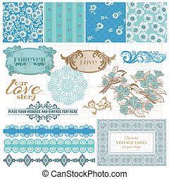 azul, elementos, vindima, -, vetorial, desenho, scrapbook, flores